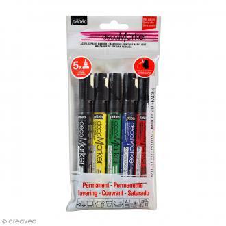 Set de marqueurs peinture Acrylic Marker - Pointe Ronde 1,2 mm - 5 pcs