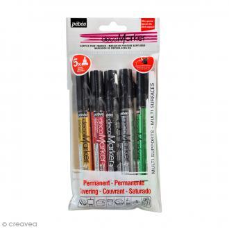 Set de marqueurs peinture decoMarker - Pointe Ronde 1,2 mm - 5 pcs