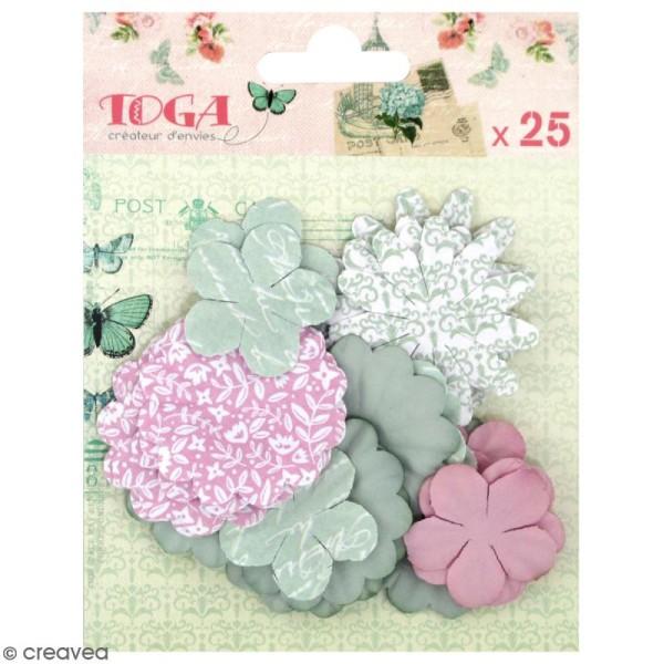 Fleurs en papier Rose pâle et vert amande - 25 pcs - Photo n°1