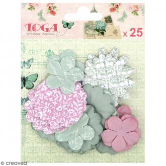 Fleurs en papier Rose pâle et vert amande - 25 pcs