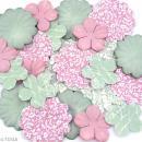 Fleurs en papier Rose pâle et vert amande - 25 pcs - Photo n°2