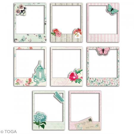 cadres polaroid fleurs et papillons 8 8 x 10 7 cm 8 pcs die cut creavea. Black Bedroom Furniture Sets. Home Design Ideas