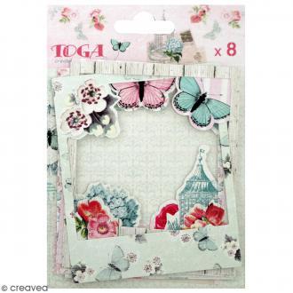 Cadres polaroid - Fleurs et Papillons - 8,8 x 10,7 cm - 8 pcs