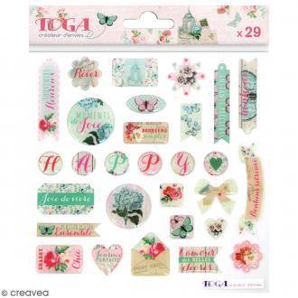 Stickers 3D Toga Fleurs et Papillons - 29 pcs