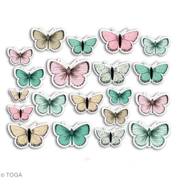 Chipboards imprimés en carton - Papillons - 20 formes - Photo n°2