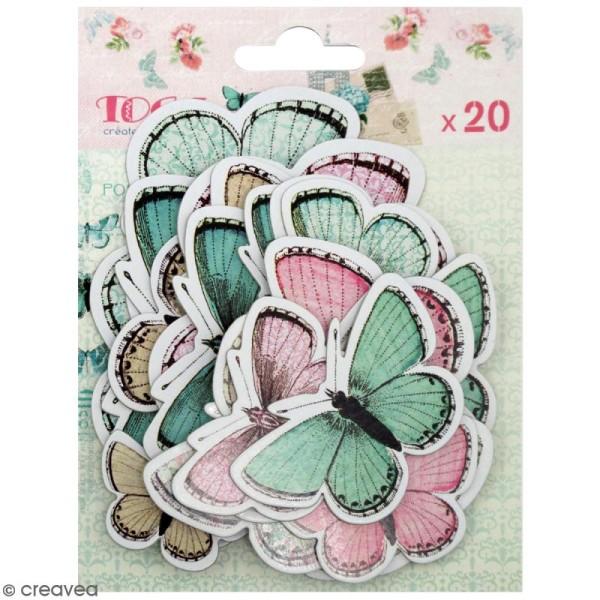 Chipboards imprimés en carton - Papillons - 20 formes - Photo n°1
