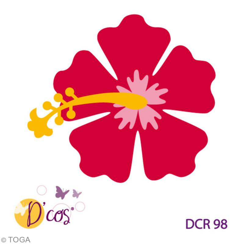 Die d 39 co fleur hibiscus 1 matrice de d coupe matrice - Fleur a colorier et a decouper ...
