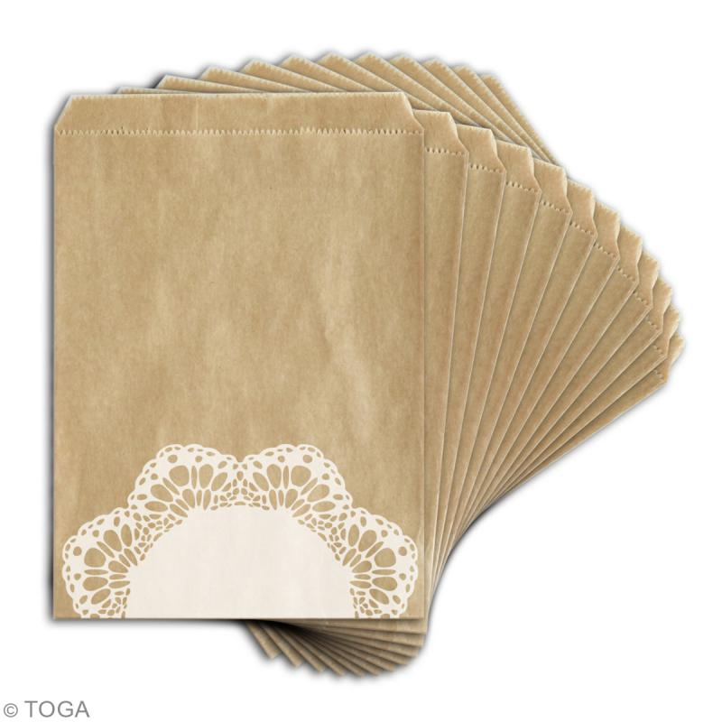 Sachet cadeau kraft - Dentelle - 13 x 18 cm - 12 pcs - Photo n°2