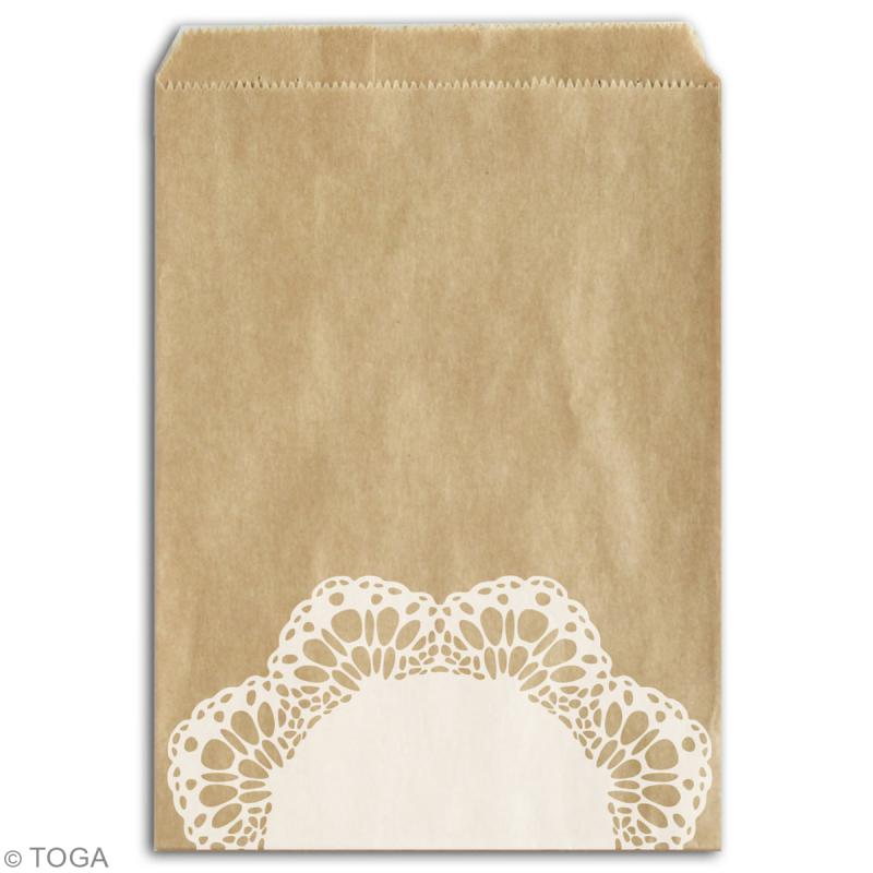 Sachet cadeau kraft - Dentelle - 13 x 18 cm - 12 pcs - Photo n°3