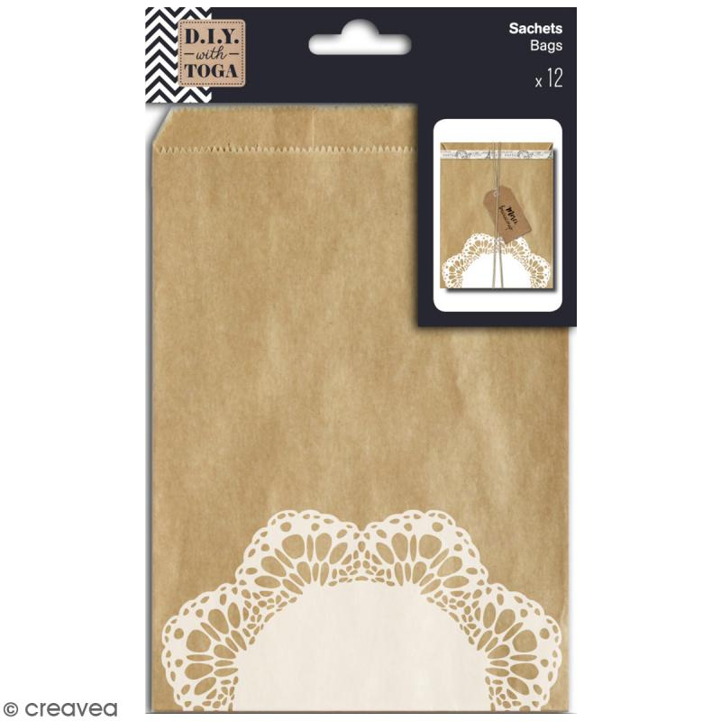 Sachet cadeau kraft - Dentelle - 13 x 18 cm - 12 pcs - Photo n°1