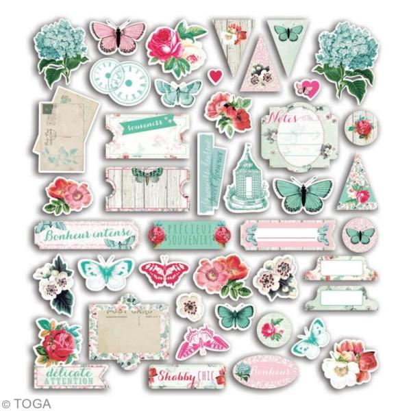Die cut - Fleurs et Papillons - 44 formes en papier - Photo n°2