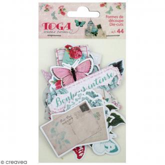Die cut - Fleurs et Papillons - 44 formes en papier