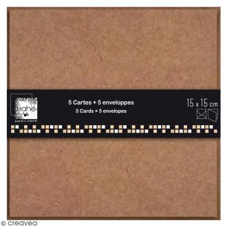 Cartes Doubles avec enveloppes - 15 x 15 cm - 5 pcs