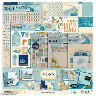 Kit scrapbooking - Globe Trotter - Papiers & embellissements