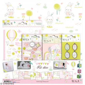 Kit scrapbooking - Bébé Rose - Papiers & embellissements