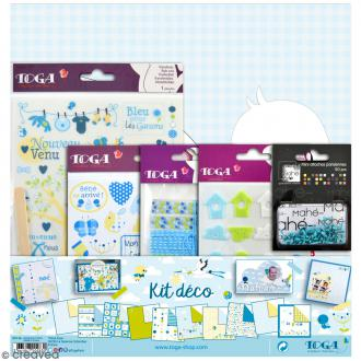 Kit scrapbooking - Bébé Bleu - Papiers & embellissements