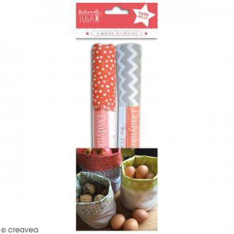 Kit Pochon en coton enduit avec tuto - Rouge & Taupe