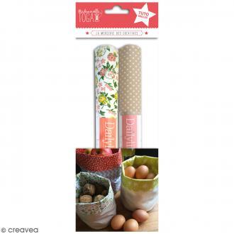 Kit Pochon en coton enduit avec tuto - Beige & Fleurs