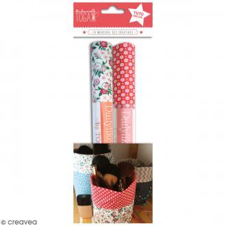Kit Pochon en coton enduit avec tuto - Rouge & Fleurs