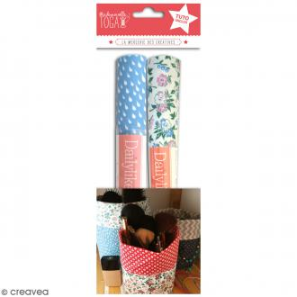 Kit Pochon en coton enduit avec tuto - Bleu & Fleurs