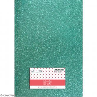 Flex thermocollant pailleté A4 - Vert jade