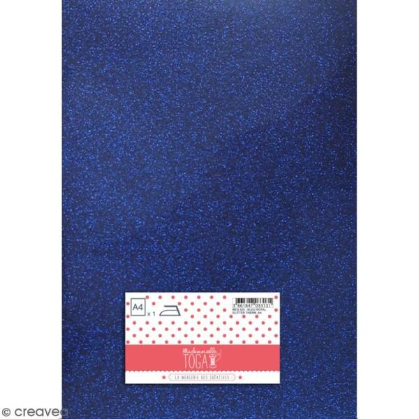 Flex thermocollant pailleté A4 - Bleu royal - Photo n°1