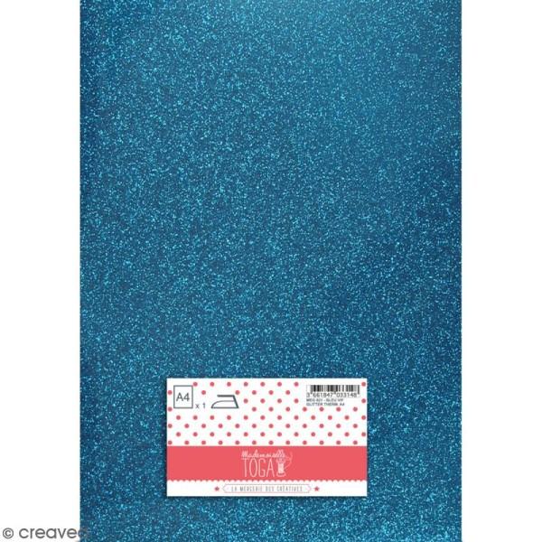 Flex thermocollant pailleté A4 - Bleu vif - Photo n°1
