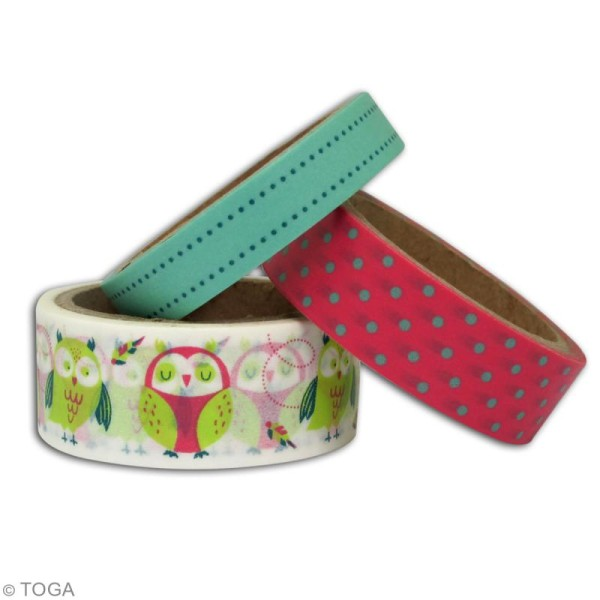 Masking tape Toga - Hiboux - 3 rouleaux de 5m - Photo n°2