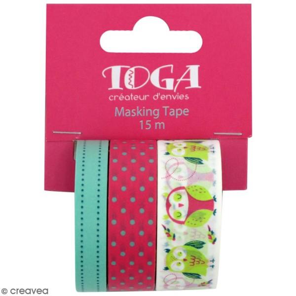 Masking tape Toga - Hiboux - 3 rouleaux de 5m - Photo n°1