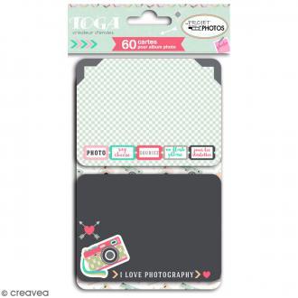Cartes pour album photo Project Life - Clic Clac - 60 pcs