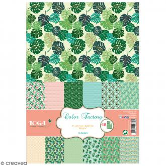 Papier scrapbooking Toga - Color Factory - Jungle - 48 feuilles en A4