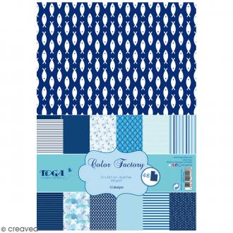 Papier scrapbooking Toga - Color Factory - Esprit Marin - 48 feuilles en A4
