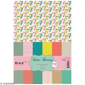 Papier scrapbooking Toga - Color Factory - Animaux - 48 feuilles en A4
