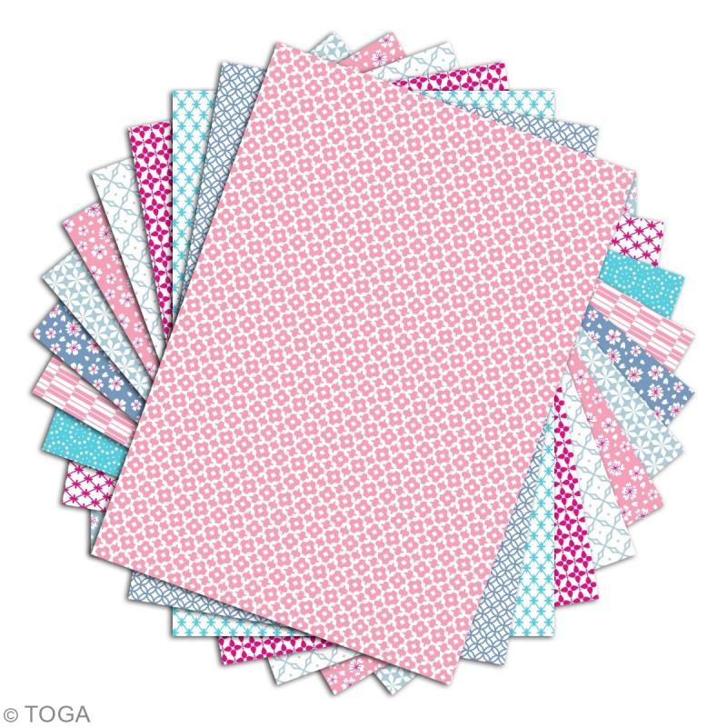 Papier scrapbooking Toga - Color Factory - Fleuris et pastel - 48 feuilles en A4 - Photo n°2