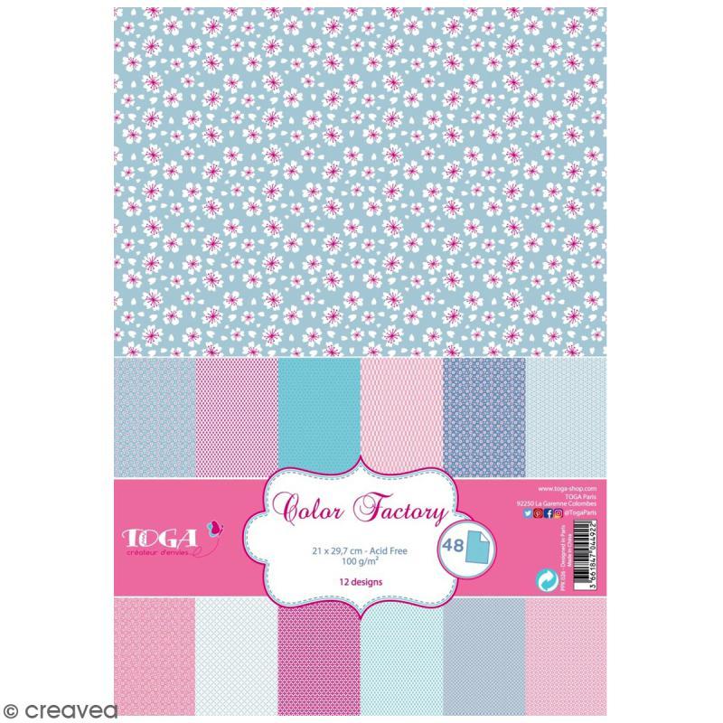 Papier scrapbooking Toga - Color Factory - Fleuris et pastel - 48 feuilles en A4 - Photo n°1