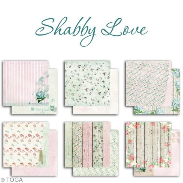 Papier scrapbooking Toga - Shabby Love - Fleurs et Papillons - 30,5 x 30,5 cm - 6 feuilles - Photo n°2