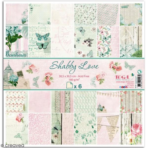 Papier scrapbooking Toga - Shabby Love - Fleurs et Papillons - 30,5 x 30,5 cm - 6 feuilles - Photo n°1