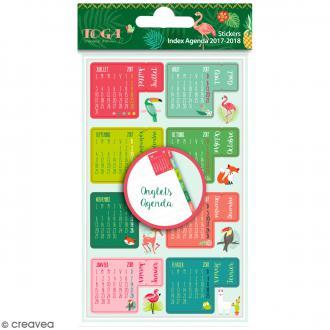 Stickers Onglets pour agenda - Jungle et Animaux - 18 pcs