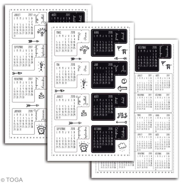 Stickers Onglets pour agenda - Bullet Journal - 18 pcs - Photo n°2