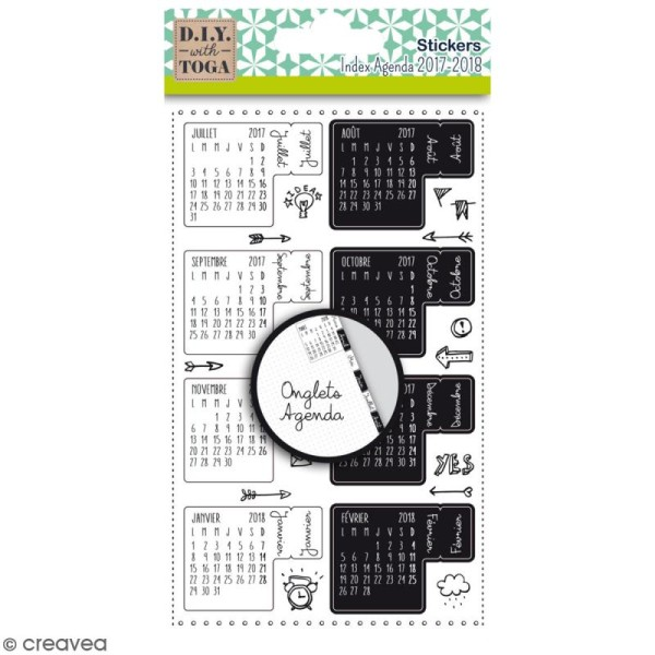 Stickers Onglets pour agenda - Bullet Journal - 18 pcs - Photo n°1