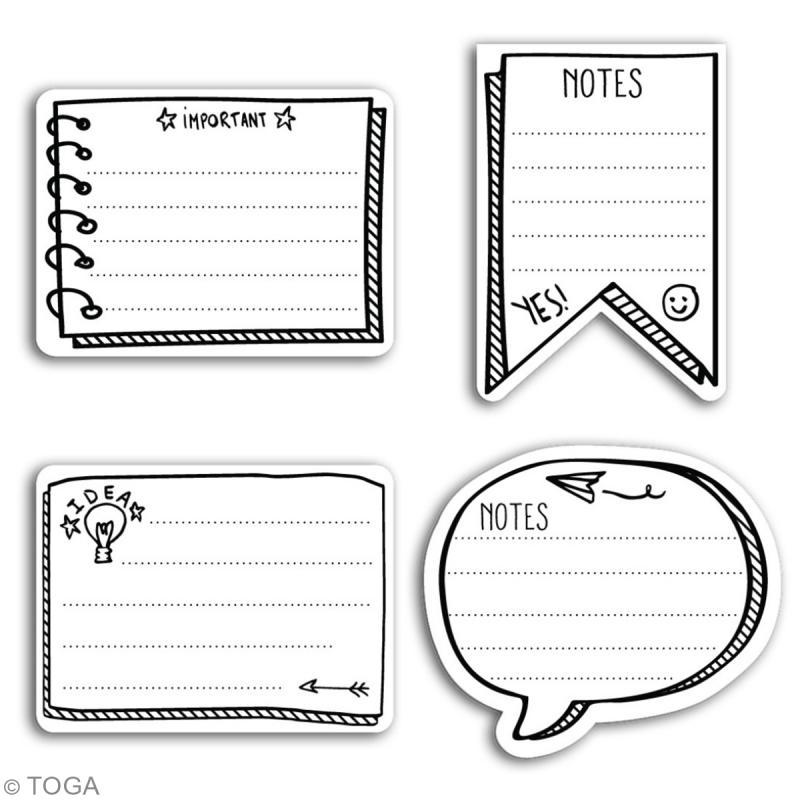 Set de bloc-notes repositionnables Toga - mémos noir et blanc - 80 pcs - Photo n°2