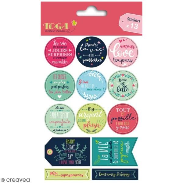 Stickers - Messages Positifs - 13 pcs - Photo n°1