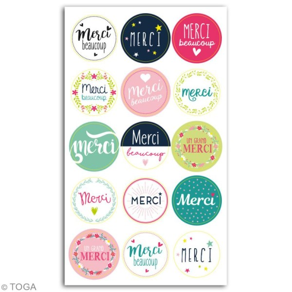Stickers - emballage cadeau Merci - 15 pcs - Photo n°2