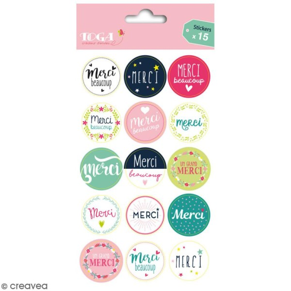Stickers - emballage cadeau Merci - 15 pcs - Photo n°1