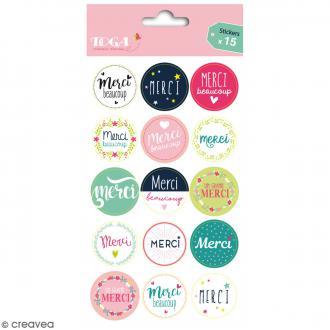 Stickers - emballage cadeau Merci - 15 pcs