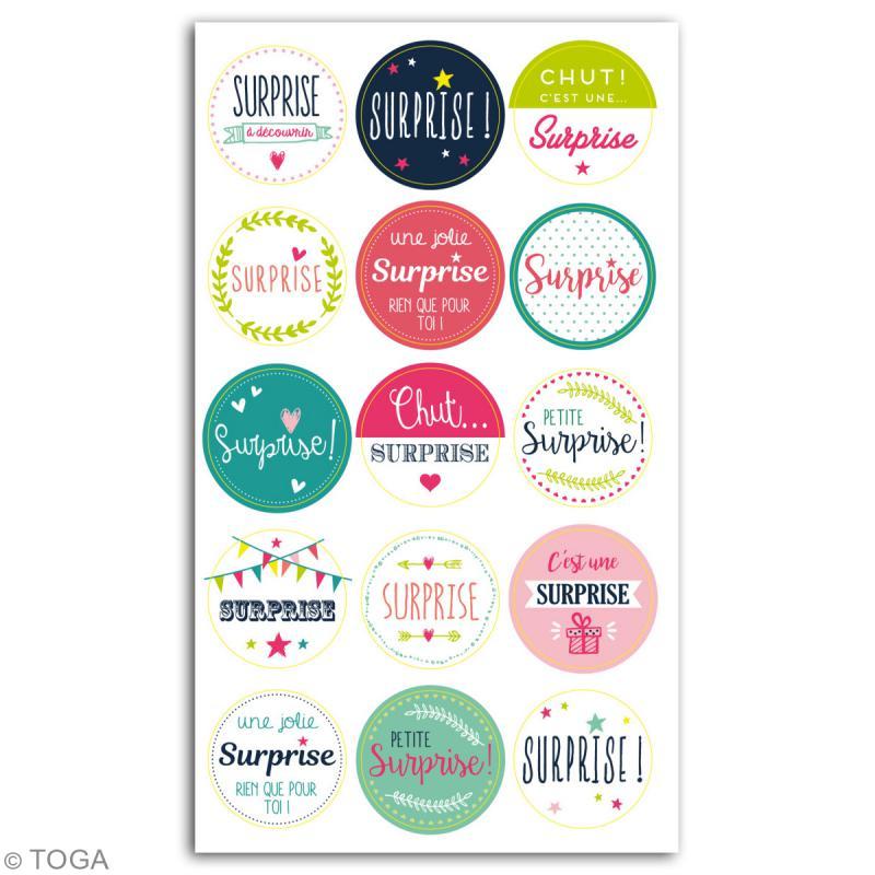 stickers emballage cadeau surprise 15 pcs stickers fantaisie creavea. Black Bedroom Furniture Sets. Home Design Ideas
