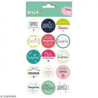 Stickers - emballage cadeau Surprise - 15 pcs