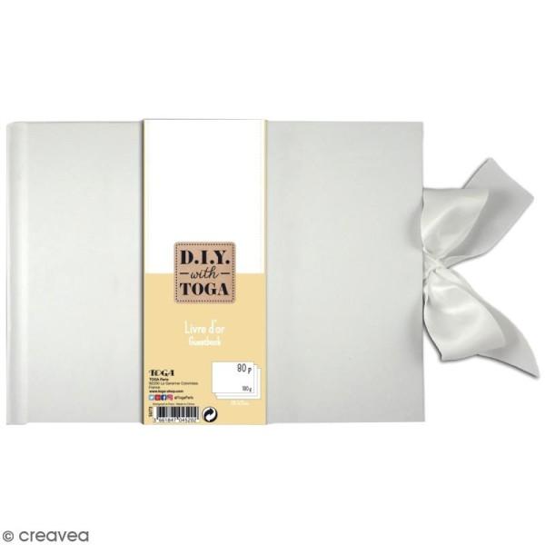 Livre d'or rectangle à décorer - Blanc - A4 - Photo n°1
