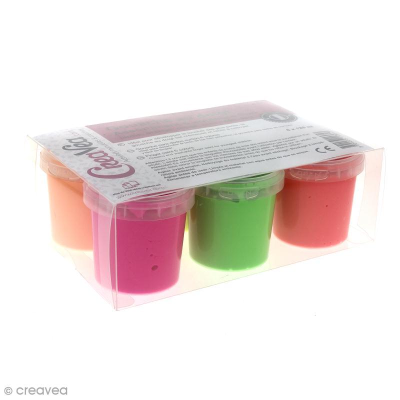 Coffret Gouache aux doigts pour enfants - Couleurs fluo - 6 x 125 ml - Photo n°1