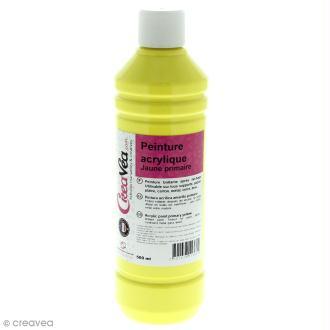 Peinture acrylique brillante - Jaune primaire - 500 ml